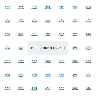 Icônes black and blue user group set