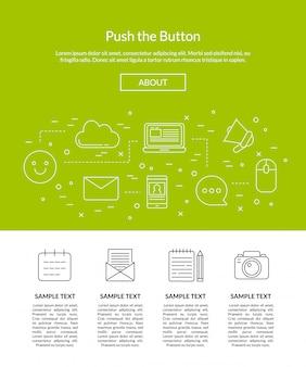 Icônes de blog ligne illustration de modèle de page de destination