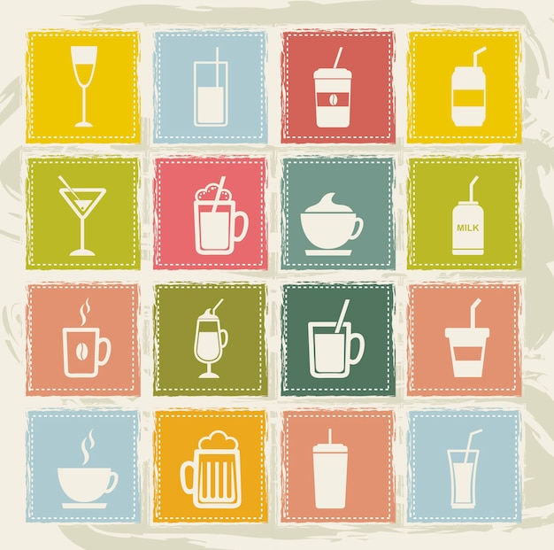 Icônes de boissons vintage sur fond grunge