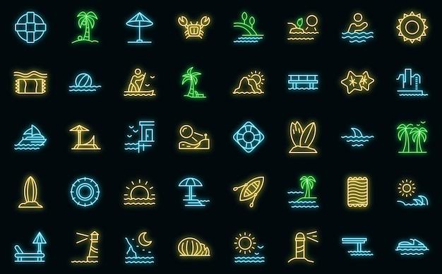 Icônes de bord de mer définies vecteur néon