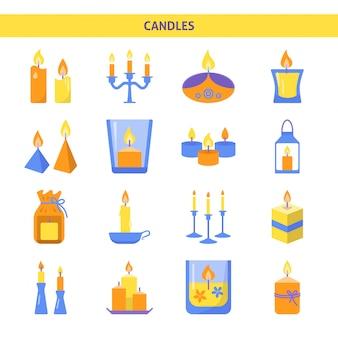 Icônes de bougies définies dans un style plat
