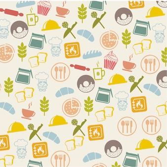 Icônes de boulangerie sur illustration vectorielle fond beige