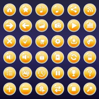 Icônes de boutons gui définies pour les interfaces de jeu de couleur jaune.