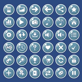 Icônes de boutons d'interface graphique définies pour la couleur des interfaces de jeu en bleu.