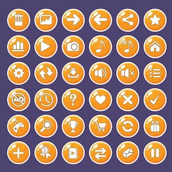 Icônes de boutons d'interface graphique définies pour les interfaces de jeu, couleur orange.