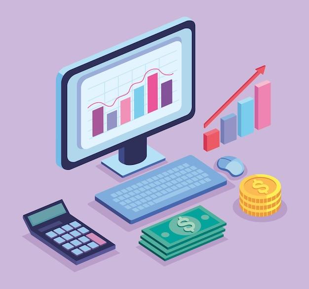 Icônes de bureau et financières