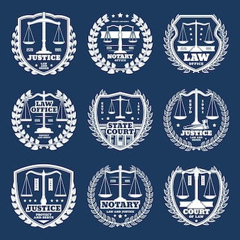 Icônes de bureau notarial, service notarial avec balances