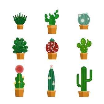 Icônes de cactus dans un style plat