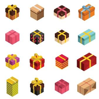 Icônes de cadeaux et boîtes présentes dans un style isomertique.