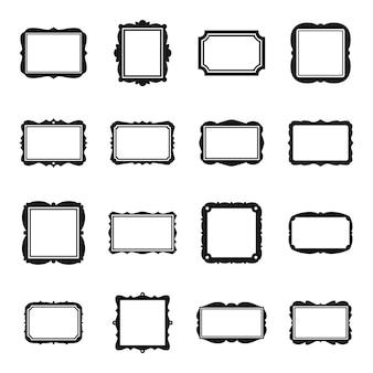 Les icônes de cadre photo définissent un vecteur simple. photo ornée. cadre photo d'art mural