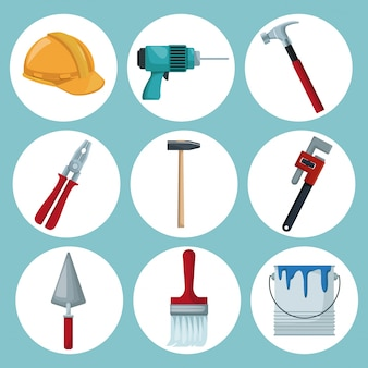 Icônes de cadres circulaires de la construction d'outils