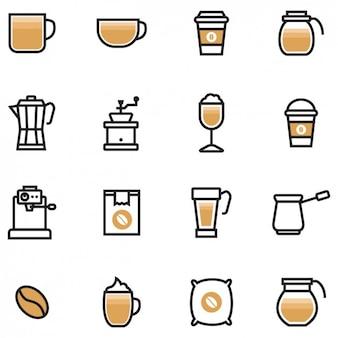 Icônes de café de couleur