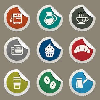 Icônes de café définies pour les sites web et l'interface utilisateur
