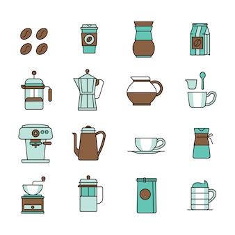 Icônes de café avec fond blanc