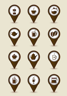 Icônes de café marron sur vecteur fond beige