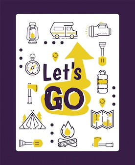 Icônes de camping isolés sur une affiche typographique de motivation