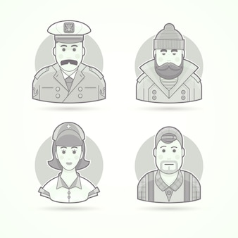 Icônes de capitaine de navire, de pêcheur, d'infirmière et d'opérateur vidéo. illustrations de personnages, d'avatars et de personnes. style décrit en noir et blanc.