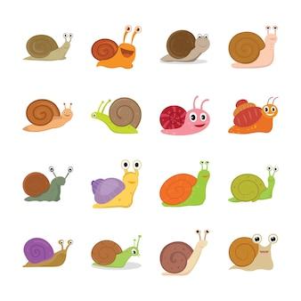 Icônes de caractère d'escargot