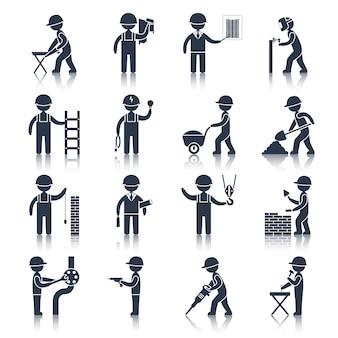 Icônes de caractère ouvrier de construction noir