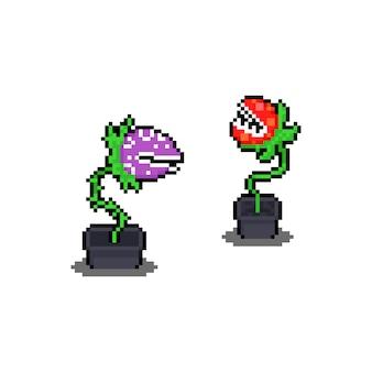 Icônes de caractère pixel art cartoon flytrap.