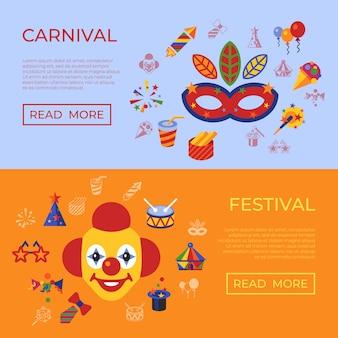 Icônes de carnaval et de cirque