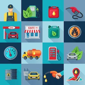 Icônes carrées de la station-service définies avec les symboles de l'industrie pétrolière et pétrolière
