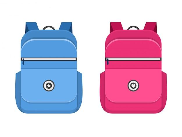 Icônes de cartable bleu et rose