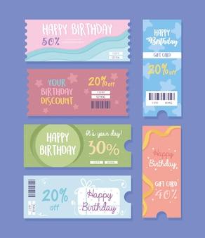 Icônes de carte de cadeaux d'anniversaire