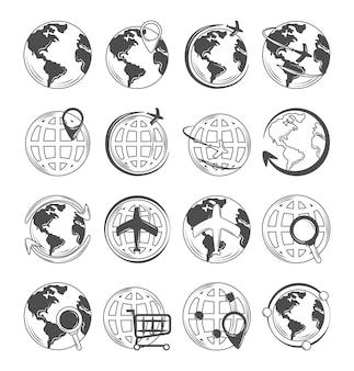 Icônes de carte du monde globe définir les achats de connexion de voyage et l'emplacement