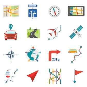 Icônes de carte à plat