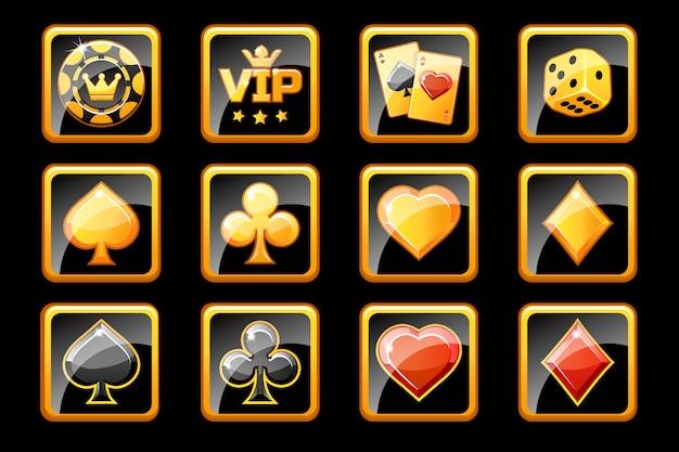 Icônes de casino en verre doré et noir, symboles de jeu de poker