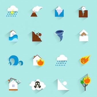 Icônes de catastrophe naturelle à plat
