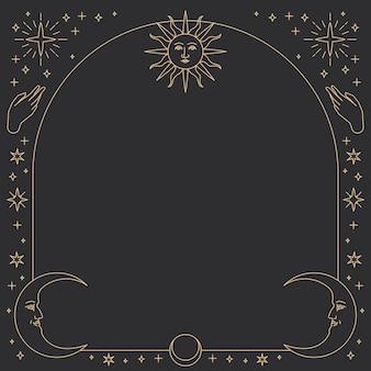 Les icônes célestes monolines encadrent le cadre carré vectoriel sur fond noir