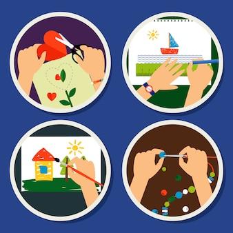 Icônes de cercle à la main avec découpe de peinture et beeds travail