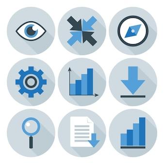 Icônes de cercle plat d'affaires bleu et gris. icônes stylisées plates avec de longues ombres
