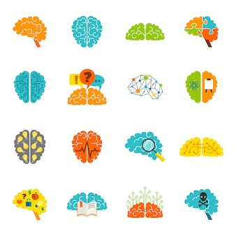 Icônes de cerveau à plat
