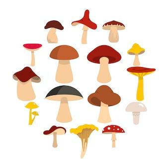 Icônes de champignons dans un style plat