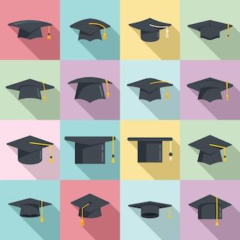 Les icônes de chapeau de graduation définissent un vecteur plat. chapeau de remise des diplômes de l'académie. casquette de cérémonie