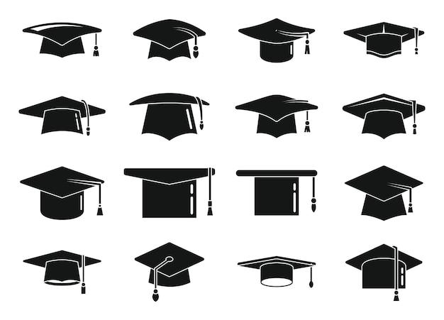 Les icônes de chapeau de graduation scolaire définissent un vecteur simple. célébration de l'académie, chapeau de cérémonie