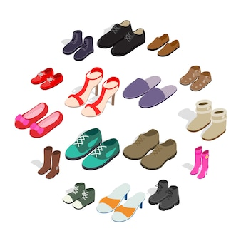 Icônes de chaussure dans un style 3d isométrique