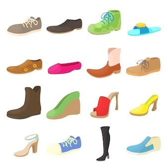 Icônes de chaussures définies dans un style bande dessinée