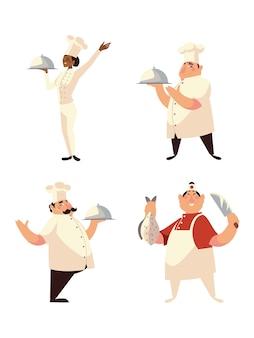 Icônes de chef mis femme avec plateau et hommes avec nourriture et couteau