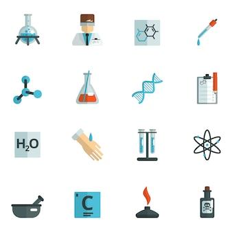 Icônes de chimie plat