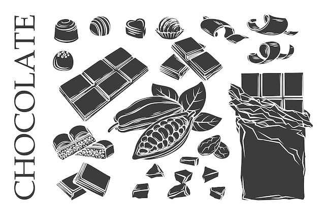 Icônes de chocolat monochrome glyphe mis belle illustration