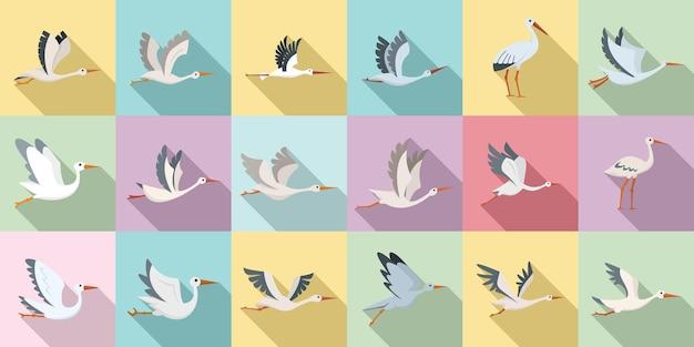 Les icônes de cigogne définissent un vecteur plat. vol d'oiseau. cigogne nouveau-né