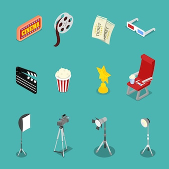 Icônes de cinéma isométrique avec illustration de bobine de film