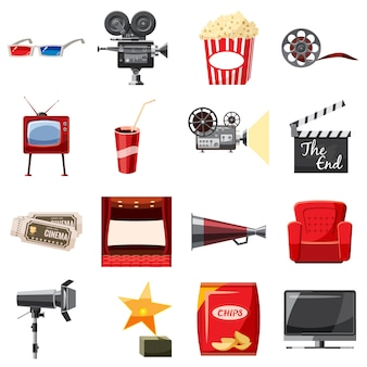 Icônes de cinéma en style cartoon