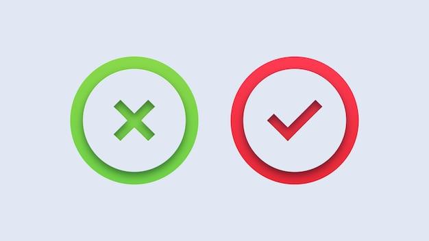 Icônes de coche verte et de croix rouge