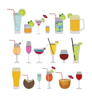 Icônes de cocktails tropicaux