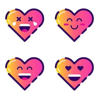 Icônes de coeur mignon coeurs emoji sourire coeurs isolés télévision vector illustration